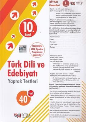 10. Sınıf Türk Dili ve Edebiyat Yaprak Test Nitelik Yayınları